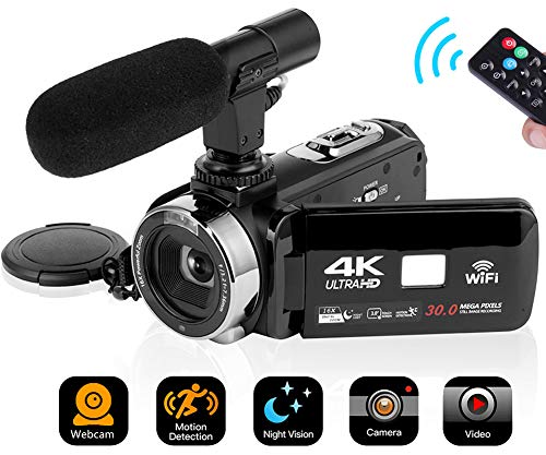4K Video Camera Camcorder Digital Camera Wifi Video Camcorder 3.0 inch Touch Screen Night Vision Vlogging Camera Camcorder with Microphone