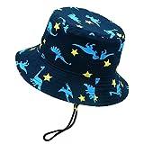 "Unisex Baby Summer Bucket Cap Cute Cartoon Printing Animal Printed Safari Hat for Little Boy Girl with Wide Brim, Blue 0-6 mos(head circumference: 48cm/18.9"")"