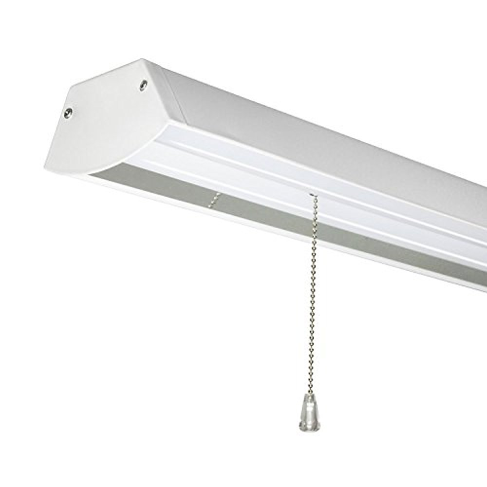 Perlite Lighting 48-Watt 3200 Lumens 48'' inches 4000k LED Work Shop Light with Pull Chain White Finish LED Fixture