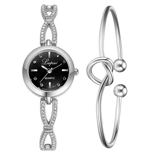 DAYLIN Conjunto Relojes Mujer Reloj de Pulsera con Forma de corazón Reloj Analogico de Cuarzo Plata de Ley Oro Reloj Brazalete Cadenas Ragalos Joyas Mujer: ...