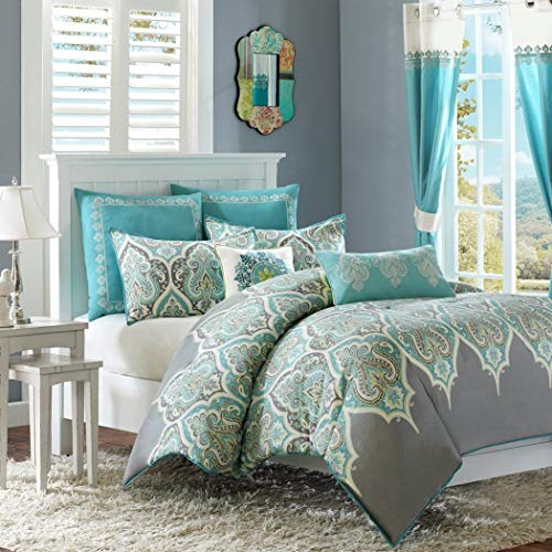 Paisley Chic (5 Piece Girls Blue Grey White Damask Theme Comforter Twin Set, Beautiful All Over Paisley Floral Scroll Motif Bedding, Multi Intricate Boho Chic Bohemian Flower Themed Pattern, Gray Teal Green)
