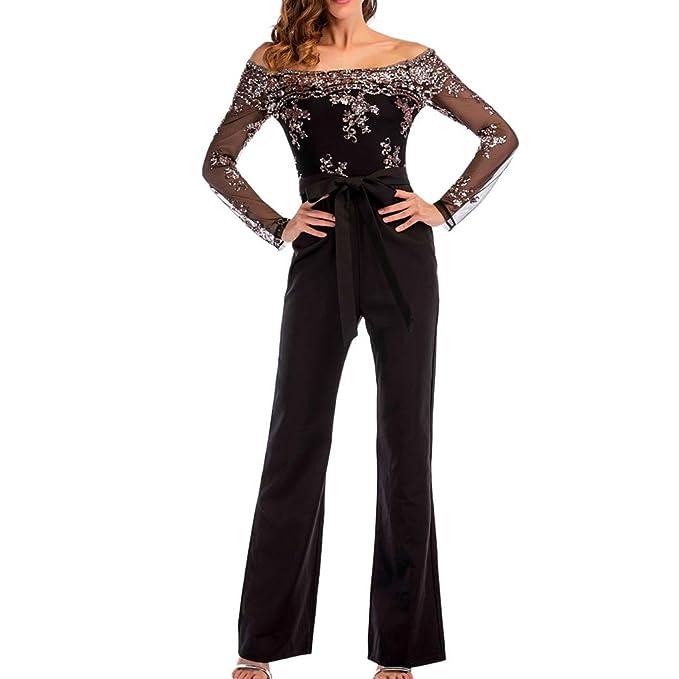 67a7b22591b Amazon.com  Creazrise Womens Wide Leg Lace Sequin Mesh Splice Bandage Off  Shoulder Long Sleeve Jumpsuit  Clothing