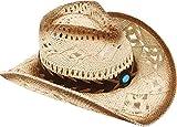 Livingston Men & Women's Woven Straw Cowboy Hat w/Hat Band Décor, Bead Beige
