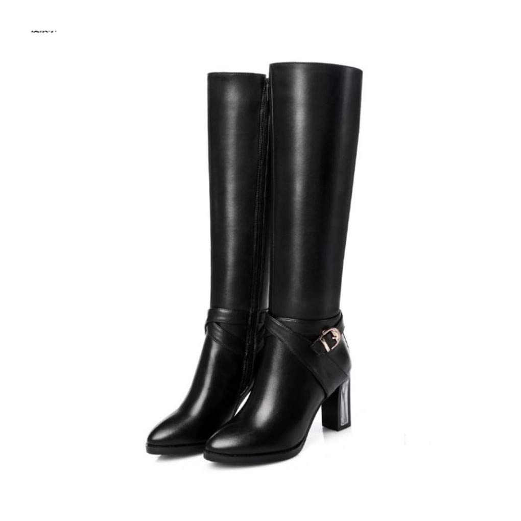 HAOLIEQUAN Frauen Natrual Leder High Heel Knie Stiefel Fashion Square Toe Reißverschluss Heels Schuhe Schuhe Größe 31-45