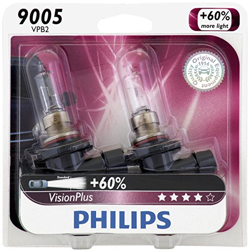 Philips 9005 VisionPlus Upgrade Headlight Bulb, Pack of 2 (Charger For 2013 Headlights)