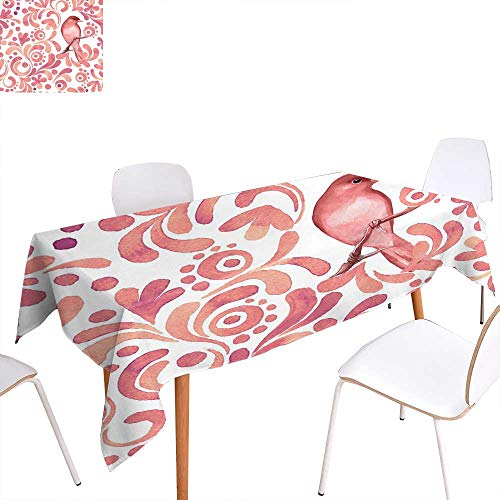 "familytaste Watercolor Dinner Picnic Table ClothCute Bird on Tree Branch Floral Swirls Curves Little Dots Wildlife Waterproof Table Cover for Kitchen 52""x70"" Coral Dried Rose White"