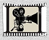 Movie Theater Tapestry, Movie Frame Pattern with Silhouette of Movie Reels in a Projector, Wall Hanging for Bedroom Living Room Dorm, 60 W X 40 L Inches, Dark Taupe Beige Black