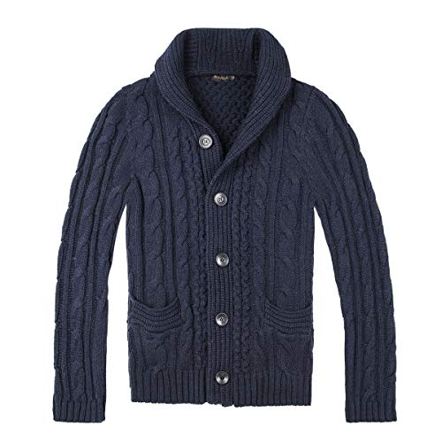 (BOTVELA Men's Shawl Collar Cardigan Sweater Button Front Solid Knitwear (S, Navy) )