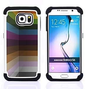 - pastel colors paint lines horizontal/ H??brido 3in1 Deluxe Impreso duro Soft Alto Impacto caja de la armadura Defender - SHIMIN CAO - For Samsung Galaxy S6 G9200