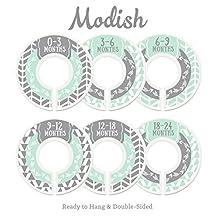 Modish Labels Baby Nursery Closet Dividers, Closet Organizers, Nursery Decor, Baby Boy, Woodland, Arrow, Tribal, Mint, Grey