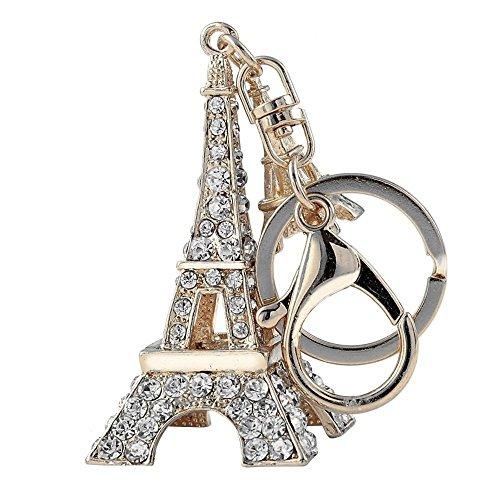 Axmerdal Fashion 3D Handmade Bling Crystal Silver Eiffel Tower Cute Keychain Rhinestone Keyring Car Handbag Purse Charm Pendant Ornament ()