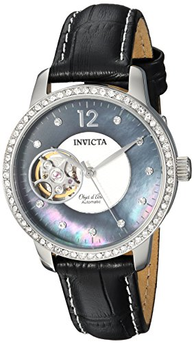 (Invicta Women's Objet D Art Stainless Steel Automatic-self-Wind Watch with Leather Calfskin Strap, Black, 16 (Model: 22620))