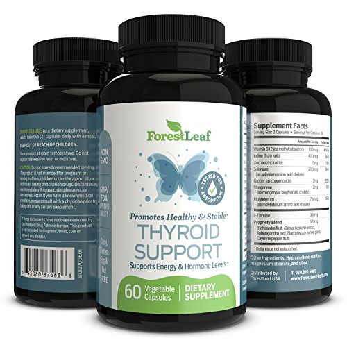 Thyroid Support Supplement With Iodine - All Natural Mineral and Vitamin Complex with B12, Zinc, Selenium, and More - 60 Caps (30 Day Supply) - By Forestleaf