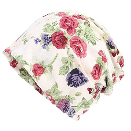 50e9f75b829 HITSAN INCORPORATION Womens Double Use Cotton Turban Hat Floral Geometric Printed  Beanie Ponytail Cap A Floral Beige  Amazon.in  Clothing   Accessories