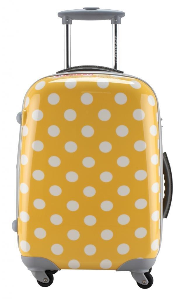 Ambassador Fashion Polka Dot 20'' Carry On Luggage Expandable Spinner Suitcase Yellow