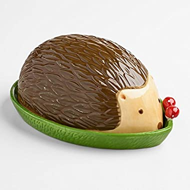 Charming Woodland Hedgehog on Leaf Butter Dish