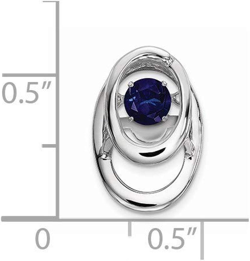 9.6mm 925 Sterling Silver Rhodium Created Blue Sapphire Vibrant Pendant