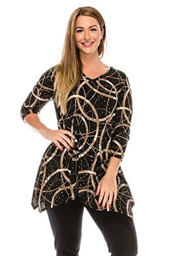 Jostar Women's Glitter V-Neck Binding Top 3/4 Sleeve Print X-Large Black Lines (Glitter Print Top)