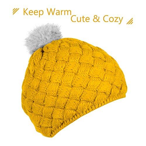 Zodaca Winter Warm Comfort Soft Crochet Pom Pom Beanie Knit Hat for Baby, Boys, Girls, Infant, Toddler, Yellow ()