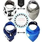 Kaydee Baby Reversible Organic Bandana Drool and Dribble Bibs For Boys and For Girls (Bear & Fox)- 2 Pack Gift Set
