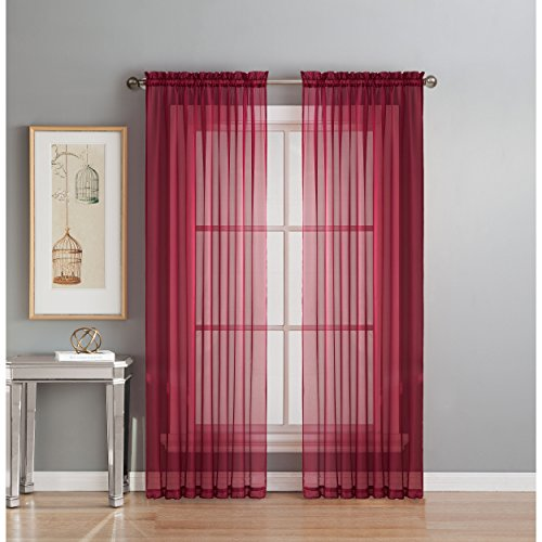 Window Elements Diamond Sheer Voile Extra Wide 112 x 84 in. Rod Pocket Curtain Panel Pair, Burgundy