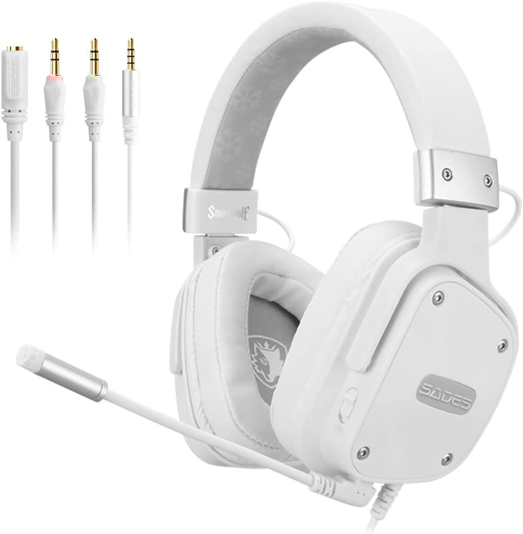SADES Snowwolf - PS4 Gaming Headset - Stereo Headphones with Noise-Reduction Microphone and Comfortable Headband for PC Computers/PS4/Xbox One/Cellphones/Laptops/Nintendo Switch/VR/Mobile Devices