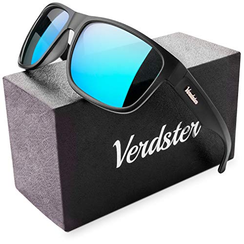 Verdster Mirrored Polarized Sunglasses for Men - Trendy & Stylish Black Shades - Hardcase & Accessories Included (Black/Blue) (Sonnenbrille Trendy)