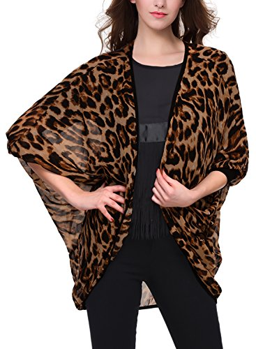 BAISHENGGT Women's Leopard Print Sheer Chiffon Cardigan Blouse Small Brown Leopard
