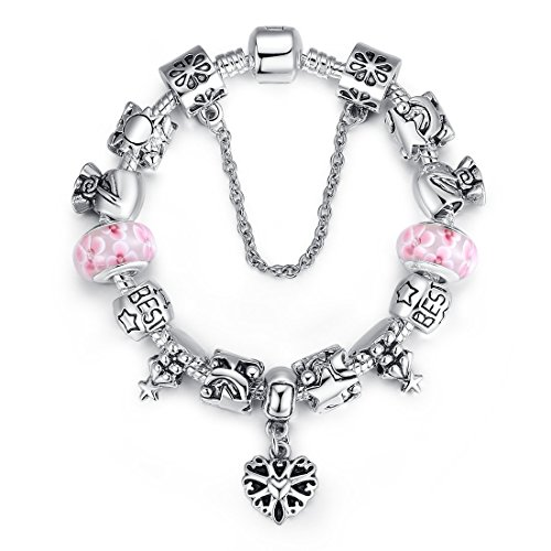 Fashionable European Silver Plated Snake Chain Pink Flower Murano Glass Beads Vintage Heart Filigree Best Friend DIY Charm Pandora Bracelet Christmas Gifts for Women Girls 18cm(7.09in)