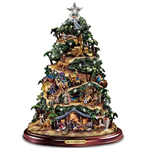 Thomas Kinkade Illuminated Nativity Tabletop Tree: Glory To The Newborn King by Hawthorne Village 94