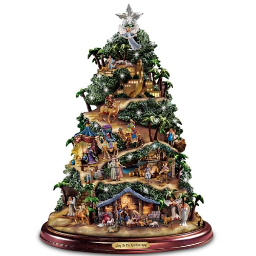 Thomas Kinkade Illuminated Nativity Tabletop Tree: Glory To The Newborn King by Hawthorne - Thomas Tree Illuminated Kinkade