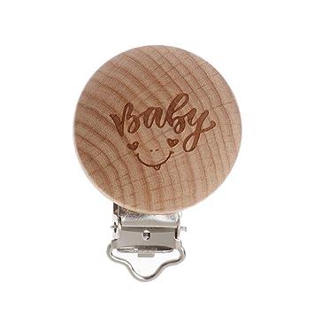lpyfgtp Chupete Clip Madera Natural Baby grabado, madera plana ...