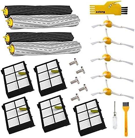 Repuestos para iRobot Roomba 800 805 850 860 865 866 870 871 880 886 890 891 895 896 900 960 965 966 980 aspirador robótico (5 cepillos laterales tornillos filtros 2 extractores individuales)