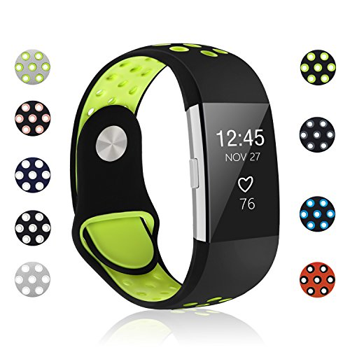POY Replacement Bands Compatible for Fitbit Charge 2, Adjustable Breathable Wristbands with Air Holes Straps, Large Black Yellow 1PC