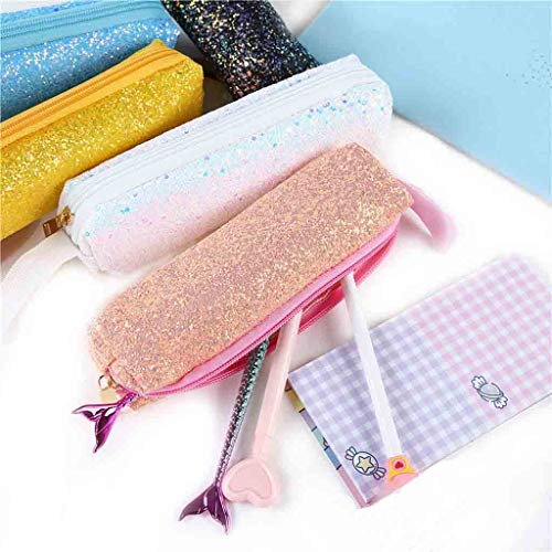 Pen Zipper Étudiant Bag Ihaza Maquillage Clutch Cosmetic Pouch Paillettes Unisexe Rose q7xzAw