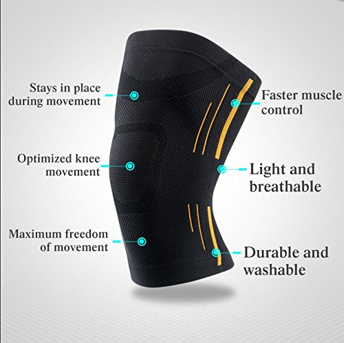 HUI Neoprene knee compression brace sleeve supports knees GYM Knee Braces with optimum pressure and support for Basketball Weightlifting Power Lifting Cycling