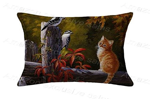 20x30inch Pillow Protector Brds|Cat Pillow Cover Home Decorative Kids Gift Pillow Cushion Cover(Twin Sides) ()