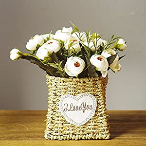 Situmi Artificial Fake Flowers Hand-Woven Flower Baskets for Outdoor Garden Decoration White Camellia Home Accessories 65