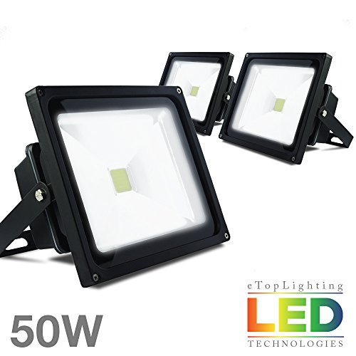 ETOPLIGHTING [3-Pack] 50W 120V Outdoor LED Flood Light Wall, Ground, Ceiling Mountable, Daylight White 6000K, 50,000 Life Hours, APL1505