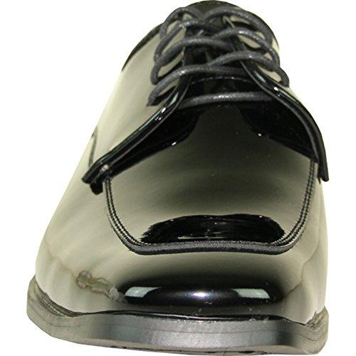 Vangelo Heren Smoking Tux-3 Mode Vierkante Neus Met Kreukvrij Materiaal Zwart Patent