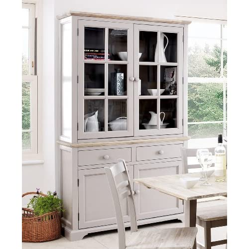 Charmant Florence Display Cabinet, Large Truffle Kitchen Dining Dresser With Glass  Doors, Shelves And Drawers