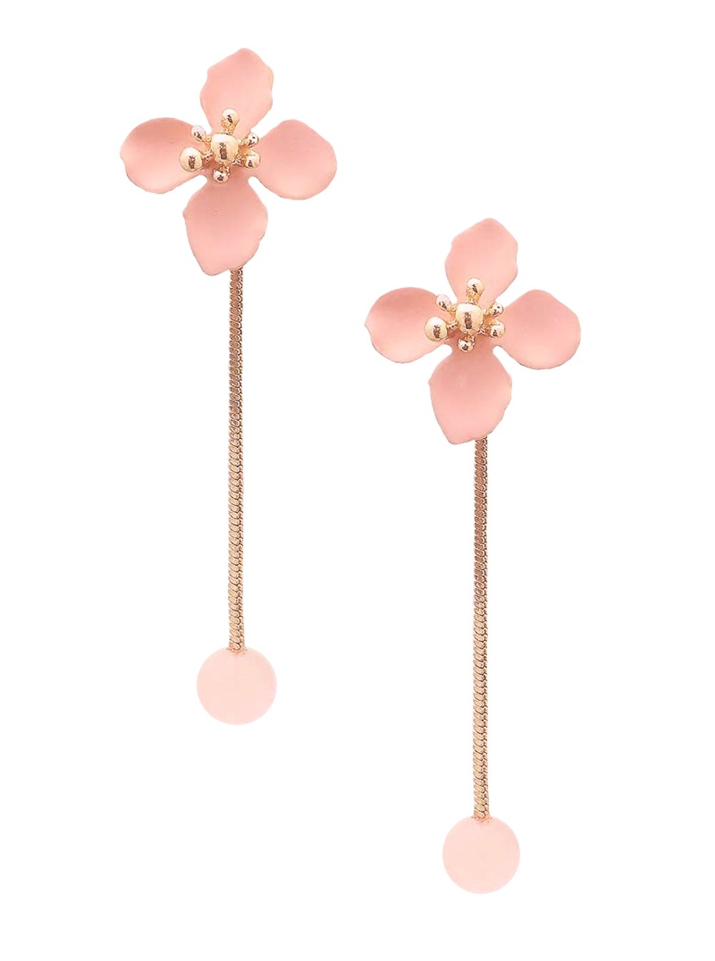 "Light Pink Enameled Flower Post Style Back Dangle Bead Jacket Earrings in Gold-Tone 2 1/4"""