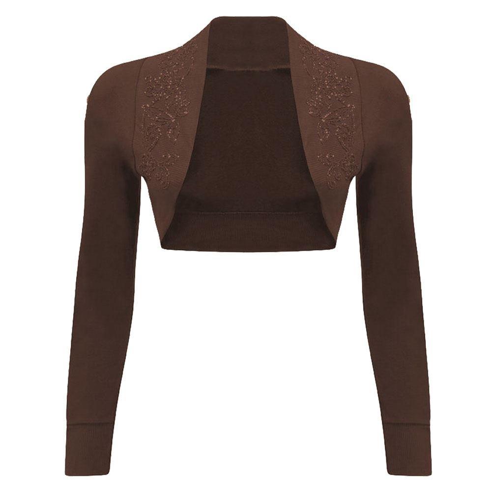 Womens Long Sleeves Sequin Beaded Bolero Shrug