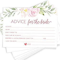 Printed Party Advice for The Bride | Set of 50 Cards | Bridal Shower Game and Activity | Unique, Fun and Easy to Play