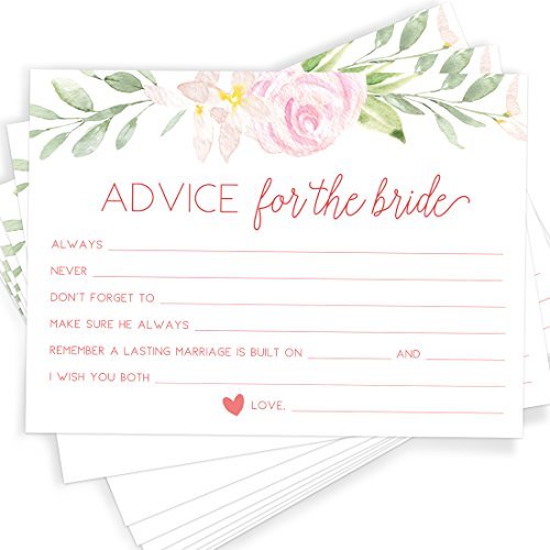 Printed Party Advice for The Bride | Set of 50 Cards | Bridal Shower Game and Activity | Unique, Fun and Easy to -