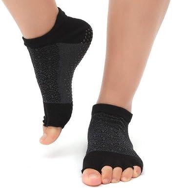 KANKOO Calcetines de yoga sin deslizamiento sin dedos ...