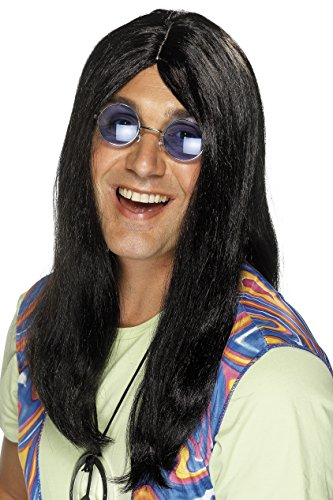 - Smiffy's Men's Long Black Hippie Wig with Centre Part, One Size, Neil Hippy Wig, 5020570422168