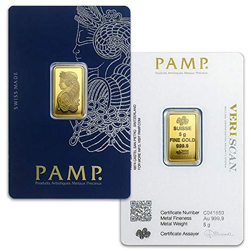 PAMP Suisse Gold Bar, 5 Gram.9999 Pure by Money Metals Exchange