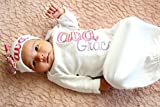 New Baby Girl Personalized Gown Hot Pink Damask Coming Home Outfit