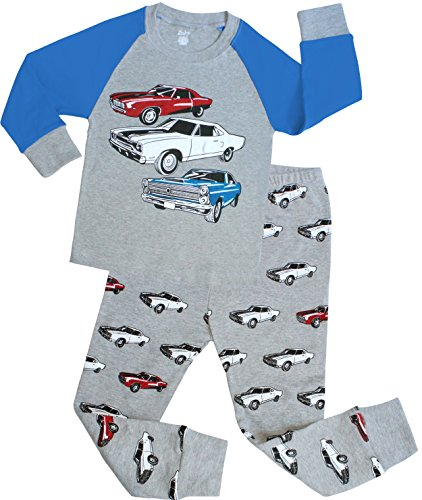 Boys Cars Pajamas Children Christmas PJs 100% Cotton, Grey 4T(4 Toddler) Cars Pajamas Pjs